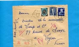 Marcophilie-lettre REC Algérie->Françe-cad Hexagonal BENI MANSOUR-1955-3 Stamps - Algeria (1924-1962)