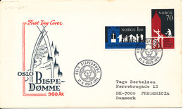 Norway FDC 21-5-1971 Oslo Bistum Diocese 900 Years With Cachet Sent To Denmark - FDC