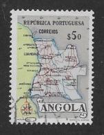 ANGOLA  , 1955, USED  # 388, MAP Of ANGOLA,  USED - Angola