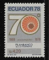 ECUADOR  1978, MLH, #970,  70tH ANNIV. Of FILANBANCO     MLH - Equateur