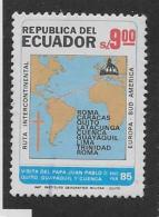 ECUADOR  1985, USED #1068 ,   World  Map Itinary Of The Jean Pau 11's Visit     USED - Equateur
