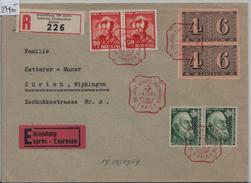 1943 W15/419 - Stempel: 100 Schweiz. Postmarken Zürich 4.III.43 Expres Recommande Nach Zürich - Blocs & Feuillets