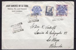 España 1937. Canarias. Carta De Las Palmas A La Haya. Censura. - Marcas De Censura Nacional