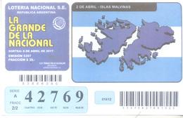 ISLAS MALVINAS ARGENTINAS - ILES MALOUINES ARGENTINS - BILLETE DE LOTERIA LOTTERY TICKET L´ARGENTINE - Billetes De Lotería
