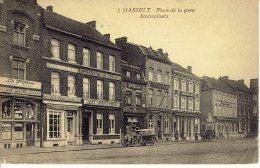Hasselt Place De La Gare  Statieplaats Brasserie Le Chene  Attelage  Plis Coin Inf. Droit - Hasselt