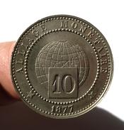 ESSAI D'ALLIAGE DE 10 CENTIMES 1877. PARIS. TRES BEL ETAT. TRES RARE. - Francia