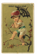 CHROMO IMAGE CHOCOLAT DEBAUVE & GALLAIS ILLUSTRATION ENFANT ET OMBRELLE Abimee - Other