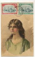 Art Card Hand Drawn Woman Wiyh Beautiful Uruguay Stamps . Not Postally Used . No Circulada . Stamp Cordon - Uruguay