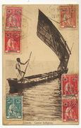 Loanda Canoa Indigena Nice  Stamps ( 6  ) To Brain Sur Allones France Edit Carvalho Freitas 652 - Angola