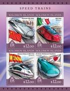 SOLOMON ISLANDS 2016 SHEET SPEED TRAINS TRENES ALTA VELOCIDAD TRAINS GRANDE VITESSE Slm16319a - Islas Salomón (1978-...)