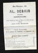 CARTE DE VISITE ANCIENNE: PIANOS HARMONIUM 53 RUE VIVIENNE PARIS   DIM: 15X10 CM - Cartes De Visite