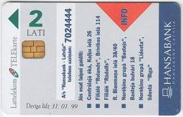 LATVIA A-005 Chip Lattelkom - Advertising, Money Institute - Used