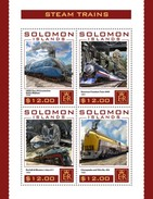 SOLOMON ISLANDS 2016 SHEET STEAM TRAINS A VAPEUR TRENES A VAPOR LOCOMOTIVES LOCOMOTORAS Slm16405a - Islas Salomón (1978-...)