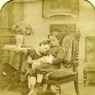 France Le Lapin Jeu De L'Enfance Scene De Genre Anciennne Photo Stereo Transparente LL 1865 - Stereoscopic
