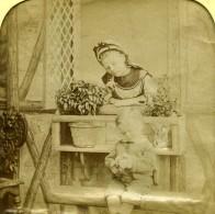France Le Bouquet Jeu De L'Enfance Scene De Genre Anciennne Photo Stereo Transparente LL 1865 - Photos Stéréoscopiques