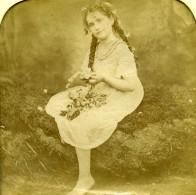 France Couronne De Fleur Jeu De L'Enfance Scene De Genre Anciennne Photo Stereo Transparente LL 1865 - Photos Stéréoscopiques