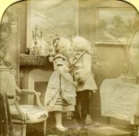 France Fête Costumée Jeu De L'Enfance Scene De Genre Anciennne Photo Stereo Transparente LL 1865 - Stereoscopic