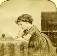 France Ecriture Jeu De L'Enfance Scene De Genre Anciennne Photo Stereo Transparente LL 1865 - Stereoscopic