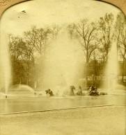 France Versailles Parc Du Château Fontaine Anciennne Photo Stereo Transparente GAF 1860 - Stereoscopic
