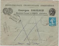 1923 - ENVELOPPE COMMERCIALE De CHEUX (CALVADOS) -> REEXPEDIEE - Marcophilie (Lettres)