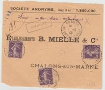 1909 - DEVANT D'ENVELOPPE CHARGEE D'AUBOUE (MEURTHE ET MOSELLE) - SEMEUSE - Marcophilie (Lettres)