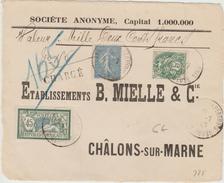 1907 - DEVANT D'ENVELOPPE CHARGEE De La MEUSE - Marcophilie (Lettres)