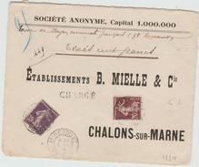 1909 - DEVANT D'ENVELOPPE CHARGEE De MIRECOURT (VOSGES) - SEMEUSE - Marcophilie (Lettres)