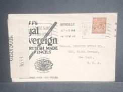 GRANDE BRETAGNE - Enveloppe Commerciale Illustrée, De Londres Pour New York En 1918, Contrôle Postal - L 7090 - 1902-1951 (Rois)