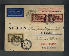 1936 Saigon Viet Nam Cochinchine Airmail Cover To CAlcuta India TB Stamp - Vietnam