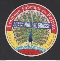 Etiquette De Fromage  -  Le Paon  -  Lait. Coop.  à  Availle Sur Chizé   (79 F)  -  Illustrateur L. Gilbert 1960 - Fromage