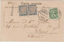 1903 - CP De FRIBOURG (SUISSE) Avec TAXE De PARIS - Marcophilie (Lettres)