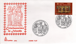 Vaticano 2000 FDC Capitolium Joint Issue Millenario Del Cristianesimo In Islanda Millennial Christianity In Iceland - Joint Issues