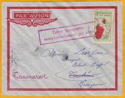 1936 - Enveloppe Par Avion De Tananarive Vers Tuléar - Affrt 50 C T PA - Lettre Transportée Exceptionnellement Par Avion - Storia Postale