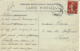 1908- C P  De Bastia ( Corse) Affr. 10 C Semeuse Oblit. MARSEILLE / LIGNE DE BASTIA - Storia Postale