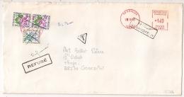 CROLLES Isère TAXE 2,30F. GONCELIN En ROUGE. REFUSE. RETOUR A L'ENVOYEUR.  1980. - Postmark Collection (Covers)