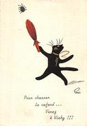 03-VICHY- POUR CHASSER LE CAFARD... VENEZ A VICHY (CARTE DE CHAT ) - Vichy