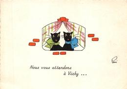 03-VICHY- NOUS VOUS ATTENDONS  A VICHY (CARTE DE CHAT ) - Vichy