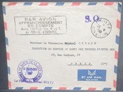"""COTE D'IVOIRE - Enveloppe De Abidjan Pour Paris En 1960 , Cachet """" Par Avion Affranchissement En Compte ..""""  - L 7129 - Côte D'Ivoire (1960-...)"""