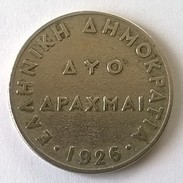 Monnaies - Grèce - 2 Drachmes 1926 - - Greece