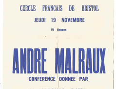 AFFICHE CONFERENCE SUR ANDRE MALRAUX A...BRISTOL ROYAUME UNI 1962 - Afiches