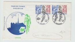 9 JUILLET 1993 - ENVELOPPE Avec AUTOGRAPHES De 3 CYCLISTES AU DOS  CACHET COMMEMORATIF Du TOUR DE FRANCE CYCLISTE AMIENS - Autographes