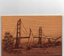 California San Francisco The Golden Gate Bridge CALIFORNIA REDWOOD Carte  Photo En Bois RARE Année 18- 08-1986 - San Francisco