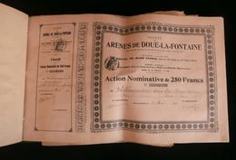 ( Maine-et-Loire  Angers ) Carnet De 100 Actions SOCIETE DES ARENES DE DOUE-LA-FONTAINE  1912 - Tourisme