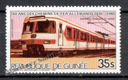 Guinée Republique - Guinea 1985 Yvert A 194, 150th Anniv Of The German Railways - Air Mail - MNH - Guinée (1958-...)