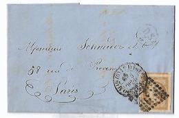 YT 13 10 Ct Bistre Brun Type I Cérès Très Gdes Marges Lettre Locale Paris Oblit D Losange Points CAD T1520 1859 - Postmark Collection (Covers)