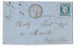 1873 YT 60 A 25 Ct Bleu Cérès Ceres Sur Lettre De Violès GC 705 CAD Perlé T24 Camaret Vaucluse 22 2 73 - Marcophilie (Lettres)