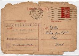 !!! RR ENTIER PETAIN DE 1941 CACHET SERVICE DES RENSEIGNEMENTS AUX FAMILLES PREFECTURE MARITIME DE TOULON - Guerre De 1939-45