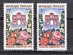France 1189 Variété Feuillage Bleu Vert Et Normal Floralies Neuf ** TB MNH Sin Charnela - Abarten: 1950-59 Ungebraucht