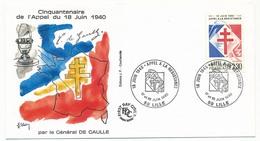 """FRANCE - Enveloppe - Cachet Temporaire """"18 Juin - Appel à La Résistance"""" - LILLE - 17/18-6-1960 - De Gaulle (General)"""