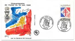 """FRANCE - Enveloppe - Cachet Temporaire """"18 Juin - Appel à La Résistance"""" - PARIS - 17/18-6-1960 - De Gaulle (General)"""
